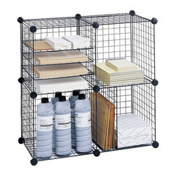 """Safco - Safco Wire Cubes - Safco - Wire Storage - 5279BL - Spark new organizing solutions with a live wire. Versatile design allows assembly as a 5-cube set or 4-cube set with extra grids used as shelves for literature or dividers for vertical 3-ring binder storage. Welded open wire construction reduces dust accumulation. Each set includes twenty 14"""" square interlocking grids 22 plastic corner connectors and 16 clips. Interlocking grids are easy to set up and reconfigure as needs change. 50 lb. weight capacity per cube."""