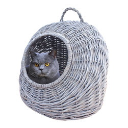 """Home Bazaar Inc - Round Wicker Cat House Grey - Your feline friend's """"dome away from home."""" Handmade of finely, hand woven natural willow. The poly fill cushion provides comfort and a convenient handle makes carrying a cinch."""