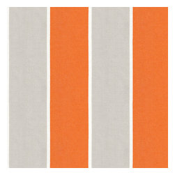 Orange & Grey Awning Stripe Outdoor Fabric - Wide outdoor awning stripe in bright orange & gray. As perfect inside as poolside.Recover your chair. Upholster a wall. Create a framed piece of art. Sew your own home accent. Whatever your decorating project, Loom's gorgeous, designer fabrics by the yard are up to the challenge!