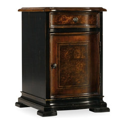 "Hooker Furniture - Grandover Chairside Chest - White glove, in-home delivery included!  Grandover is a high-drama European traditional collection updated for today with a modern outlook and functional details.  A striking two-tone finish of exotic elegance combines hardwood solids with Golden Madrone Burl, Walnut, Cherry, Maple and Birch veneers, bordered by black handpainting and subtle, handrubbed gold accents for an aged and acquired look.  One drawer, one adjustable shelf behind door, finished on all sides.  Bottom panel space: 11 3/4"" w x 14"" d x 7"" h  Cabinet opening without shelf: 11 3/4"" w x 14"" d x 13 3/4"" h  Drawer: 11 1/2"" w x 12 3/4"" d x 2"" h  Top shelf space: 11 3/4"" w x 14"" d x 6"" h"