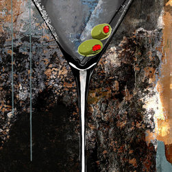 "Maxwell Dickson - Maxwell Dickson ""Martini Glass"" Modern Bar Art Canvas Print Artwork - We use museum grade archival canvas and ink that is resistant to fading and scratches. All artwork is designed and manufactured at our studio in Downtown, Los Angeles and comes stretched on 1.5 inch stretcher bars. Archival quality canvas print will last over 150 years without fading. Canvas reproduction comes in different sizes. Gallery-wrapped style: the entire print is wrapped around 1.5 inch thick wooden frame. We use the highest quality pine wood available."