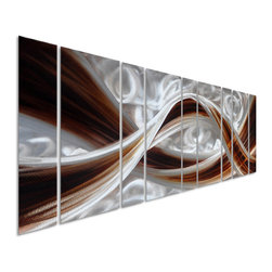 Pure Art - Colossal Chocolate 9 Panel - 7 Foot Metal Wall Art - An incredibly large and dynamic metal wall art that is ideal for oversized spaces: This artwork is made up of 9 panels and features delicious ribbons of silver, and deep chocolate brown in curvaceous waves that undulate and flow upon each other. The fluid design will add movement and a great deal of visual impact to your walls, no matter how large they are!Made with top grade aluminum material and handcrafted with the use of special colors, it is a very appealing piece that sticks out with its genuine glow. Easy to hang and clean.