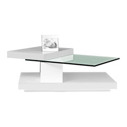 Beverly Hills Furniture Inc. - Swing Black Hi-Gloss Coffee Table with Swivel Tops - Create a contemporary and elegant design in your living room with this modern Swing Black Hi-Gloss Coffee Table with Swivel Tops - Beverly Hills Furniture Inc. Pre-assembled cocktail table features black hi-gloss finish and swivel tops. Pictured in white but available only in black finish.