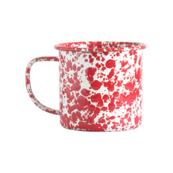 Crow Canyon Home - Mug, 12-Ounce, White and Red Splatter - These classic enameled mugs have a contrasting marbled surface and are great for daily use, indoors or outside for picnics, barbecues and camping. A traditional vessel with a modern design, our mug is perfect for coffee, a hot toddy, or your potion of choice. The durable enamel coating ensures your beverage tastes pure and free of unwanted flavors. If you've never owned splatter enamelware, these mugs are the perfect set of training wheels. Available in other sizes.