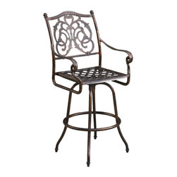 Great Deal Furniture - Arlington Cast Aluminum Copper Finish Bar Stool - The Arlington bar stool will bring luxury and convenience to your outdoor space. Made from cast aluminum, this durable high quality stool features intricate details on the backrest and a diamond-mesh seat rest. The antique shiny copper finish is neutral to match any outdoor furniture and will hold up in any weather condition. Whether in your backyard, patio, or deck, you'll enjoy this stool for years to come.