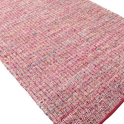 Jaipur Rugs - Flat-Weave Soft Hand Wool/Art Silk Pink/Ivory Area Rug (5 x 8) - Woven recycled Sari silk is mixed with un-dyed wool to create a blanket of texture and color. The rugs are reversible making them versatile as well as soft and comfortable.