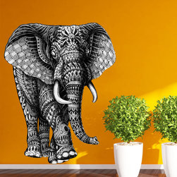 My Wonderful Walls - Elephant Walking Wall Sticker Decal – Black and White Animal Art by BioWorkZ , X - - Product: ornate elephant wall sticker decal