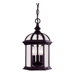 Savoy House - Kensington Hanging Lantern - Classic exterior fixture available in Textured Black with clear beveled glass.