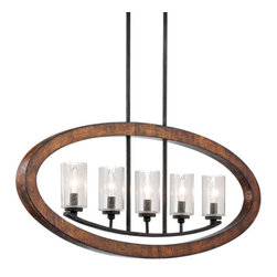 Kichler - Grand Bank Five-Light Auburn Stained Finish Island Pendant - - Grand Bank Five-Light Auburn Stained Finish Island Pendant.   - Clear Seedy Glass.   - Bulbs Not Included.   - Body Made of Steel.   - Chain Length: 36.   - Extra Lead: 88. Kichler - 43186AUB