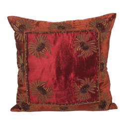 John Richard - John Richard Burnt Orange and Wine Velvet JRS-03-3248 - Burnt orange and wine with copper embroidery accented with multi-colored beads.