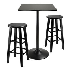 Winsome - Obsidian 3-Pc Pub Table With 24 in.  Stools - Obsidian 3-pc Pub Table with 24 in. Stools