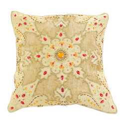 """Banarsi Designs - Velvet Sparkle Pillow Cover (Set of 2), Beige - Discover the hand crafted Banarsi """"Velvet Sparkle Pillow Cover"""", a unique decorative abstract design featuring luxurious embedded velvet patches with beautiful hand-stitched colorful beads and decorative accents. This gorgeous pillow cover has been crafted in India using Viscose fabric (also known as Rayon). It truly adds brilliance anywhere you can imagine, whether you are looking to transform your sofa, bedroom or any room you desire."""