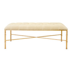Worlds Away - Worlds Away Gold Leafed Bamboo Iron Bench with Beige Velvet Upholstery STELLA BE - Gold leafed bamboo iron bench with beige velvet upholstery.