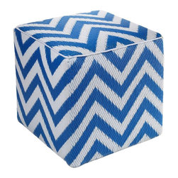 Oceanview Chevron Cube in Blue and White - Hand-crafted by skilled artisans from recycled polypropylene, the Oceanview Chevron Cube is both functional and stylish. Use it to balance food and drinks or as additional outdoor seating for your guests. This cube is weather and mildew resistant, so it will withstand even your messiest party guests.