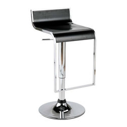 Eurostyle - Eurostyle Fortuna Plastic Seat Bar/ Counter Stool in Black & Chrome - Plastic Seat Bar/ Counter Stool in Black & Chrome belongs to Fortuna Collection by Eurostyle You'll love the look of the Euro Style Foster Adjustable Swivel Bar Stool. It's like a '50s retro diner stool ... with a modern twist. Constructed from tubular metal in highly-polished chrome, this stool has a round base and a rectangular footrest that's a continuation of the seat frame for a unique touch. The seat itself is made from durable ABS plastic and comes in your choice of colors. Best of all, this stool not only swivels for easy, comfortable access, it also features a gas lift mechanism that gives you smooth, adjustable height. Move the seat from 23 inches tall to 35 inches tall to suit any standard counter-height or bar-height table or island. Measures 18W x 16D x 25-35H inches; some assembly is required. Bar/ Counter Stool (1)