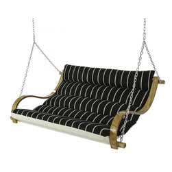 Hatteras Hammocks - Deluxe Cushioned Double Swing - Classic Black Stripe - A tailored dark Italian suit-jacket over a crisp white T-shirt? It looks fantastic, if you're the kind of person who can pull it off' So let us introduce our Classic Black Stipe Deluxe Cushioned Double Swing: Extra-wide cushions positively plump with plush padding. Two layers of our own cottony-soft, all-weather solution-dyed DuraCord® fabric, richly designed in stately, classic black and white. Curved white-oak arms, varnished to honey-gold perfection. Add it all up, and what do you get? A matchless meeting of high comfort and high style for two contented relaxers! Zinc-plated hanging chains and hardware further ratchet up the handsome look even as they heighten weatherability.