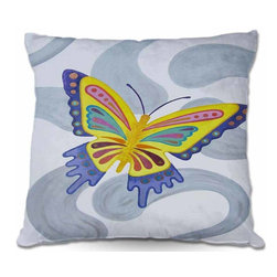 DiaNoche Designs - Pillow Woven Poplin - Butterfly - Toss this decorative pillow on any bed, sofa or chair, and add personality to your chic and stylish decor. Lay your head against your new art and relax! Made of woven Poly-Poplin.  Includes a cushy supportive pillow insert, zipped inside. Dye Sublimation printing adheres the ink to the material for long life and durability. Double Sided Print, Machine Washable, Product may vary slightly from image.