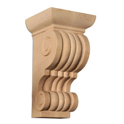 "Inviting Home - Cleveland Wood Corbel - Cherry - wood corbel in cherry 8-3/8""H x 4-3/8""D x 4-1/2""W Corbels and wood brackets are hand carved by skilled craftsman in deep relief. They are made from premium selected North American hardwoods such as alder beech cherry hard maple red oak and white oak. Corbels and wood brackets are also available in multiple sizes to fit your needs. All are triple sanded and ready to accept stain or paint and come with metal inserts installed on the back for easy installation. Corbels and wood brackets are perfect for additional support to countertops shelves and fireplace mantels as well as trim work and furniture applications."