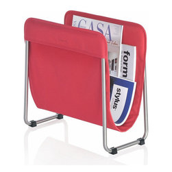 Blomus - Levio Magazine Rack - Red - The chances of losing your reading material in this sleek magazine rack are pretty slim. It's designed to keep your periodicals close at hand and looking their best within the fabric sleeve holder. It's enough to make even light reading appear pretty smart.