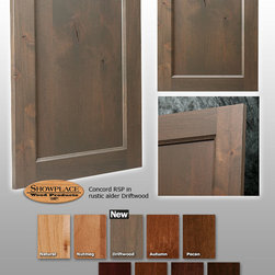 Concord RSP Showplace Cabinets - This photo features Showplace's Concord RSP door style in rustic alder with a Driftwood stain.