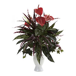 Nearly Natural - Anthurium w/Mixed Greens & White Vase - Here's an arrangement that takes multiple colors, shapes, and textures and combines them into one beautiful package. With soft, striking Anthurium blooms set high atop a cornucopia of mixed greenery, this Anthurium will be the most talked-about piece in your home or office d�cor. Complete with a classic white vase, it also makes a fine gift for that hard to buy for person.