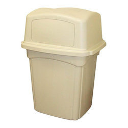 Continental - Continental Colossus Indoor/Outdoor Receptacle - 45 gal Capacity - Receptacle offers two spring-loaded doors for easy disposal of refuse in high-traffic areas indoors or outdoors. Springs keep doors closed tightly to keep odors in and pests out. The tight fit of the doors to the lid and the lid to the base allows for Factory Mutual and California State Fire Marshal Approval. Lid offers a top surface that prevents accumulation of debris and water. The large door openings (17-2/5 wide x 9 high) easily accommodate bulky debris like pizza boxes and 32 oz. cups, and allow easy access when emptying food service trays. Rigid plastic liner is sold separately. Optional ash tray top (sold separately) with chrome-plated ash receptacle attaches to lid top with four Phillips head, self-taping screws.