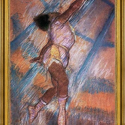 """Edgar Degas-18""""x24"""" Framed Canvas - 18"""" x 24"""" Edgar Degas Study for 'La La at the Cirque Fernando' framed premium canvas print reproduced to meet museum quality standards. Our museum quality canvas prints are produced using high-precision print technology for a more accurate reproduction printed on high quality canvas with fade-resistant, archival inks. Our progressive business model allows us to offer works of art to you at the best wholesale pricing, significantly less than art gallery prices, affordable to all. This artwork is hand stretched onto wooden stretcher bars, then mounted into our 3"""" wide gold finish frame with black panel by one of our expert framers. Our framed canvas print comes with hardware, ready to hang on your wall.  We present a comprehensive collection of exceptional canvas art reproductions by Edgar Degas."""