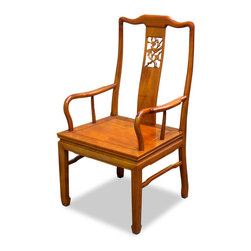 China Furniture and Arts - Rosewood Flower & Bird Motif Arm Chair - Made of solid rosewood, the center panel and the sides form a unity of graceful lines on this open-back armchair. Curved to fit human anatomy, this one panel back amazingly supports your back and waist as comfortably as any other design. Constructed with traditional joinery technique. Unique horseshoe design of the leg. A delicately carved flower and birds motif takes the center of the back with eye-catching effect. Hand-applied clear lacquer finish enhances the beauty of the natural wood grain.