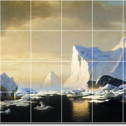 Picture-Tiles, LLC - Icebergs In The Arctic Tile Mural By William Bradford - * MURAL SIZE: 32x48 inch tile mural using (24) 8x8 ceramic tiles-satin finish.