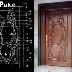 Entry Doors - Artistic front door with a horse head.