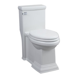 American Standard - Town Square 1-Piece 1.28 GPF Toilet Elongated Toilet in White - Change the look of your bathroom with this elongated ceramic toilet. The one-piece design of this structure facilitates proper cleaning,while the sheer length provides an elegant look. The crisp white color blends flawlessly into any decor.