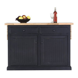 Eagle Furniture Manufacturers - Island with Flip-Up Top and Two Drawers in Antique Black (Midnight Blue) - Finish: Midnight Blue. Butcher block top with drop leaf. Two drawers. Two bead board doors. One fixed wood shelf behind doors. Bead board detailing. Decorative molding. Made from poplar, birch solids and veneers. Warranty: Eagle's products are guaranteed against material defects for one year from date of delivery to the dealer. Made in USA. No assembly required. 51.5 in. W x 27 in. D x 36 in. H (149.67 lbs.)The Coastal collection fits today's casual lifestyle. Recessed doors, bead board panels and solid wood moldings provide a clean, contemporary style that is complemented by a choice of painted or rich stained finishes.