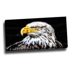 Bald Eagle - Animal Art Canvas, 32W x 16H, 1 Panel - This animal artwork is a gallery wrapped canvas piece. This design is printed in high quality fade resistant ink on premium quality cotton canvas.