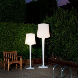 """Metalarte - Metalarte Inout floor lamp by Metalarte - Inout ME was designed by Ram_n _beda & Otto Canalda and is produced by Metalarte. Finished in rotation-molded polycarbonate, Inout is available in white, grey, yellow or red. Indoor and outdoor version available.  Product description: The Inout ME floor lamp was designed by Ram_n _beda & Otto Canalda and is produced by Metalarte. Finished in rotation-molded polycarbonate, Inout is available in white, grey, yellow or red. Indoor and outdoor version available.  Details:                         Manufacturer:             Metalarte                            Designer:             Ram_n _beda & Otto Canalda                             Made in:            Spain                            Dimensions:                         Small: h: 65.4"""" (166 cm) x shade: 20.5"""" (52 cm) x 15 3/4"""" (40 cm) x base: 15 3/4"""" (40 cm)             Large: h: 82"""" (251cm) x shade dia: 26"""" (67cm) shade h: 27"""" (69cm)                                         Light bulb:             large + small 2 x E26 60W incandescent or compact fluorescent - not included                            Material:             polycarbonate"""