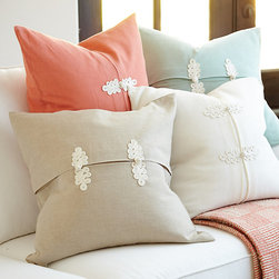 "Ballard Designs - Kiki Frog Knot Pillow with Insert - Available in several colors. Plump feather down insert. It's the great dressmaker details that make our Kiki Frogknot Pillow so special. The crisply pleated center is fashionably cinched with two ecru frog knots embroidered in a lacy ""S"" scroll. Cover is sewn of linen/cotton blend with hidden zipper. Kiki Frog Knot Pillow features: . ."