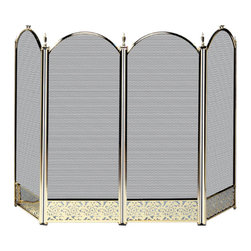 UniFlame - 4 Fold Polished Brass  Screen With Decorative Filigree - Series:  Triple Plated