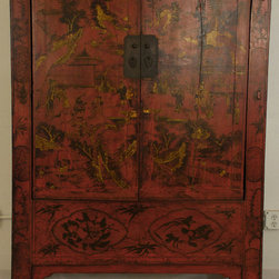 Red Lacquered Cabinet with Original Paint - Red Lacquered Cabinet with Original Paint