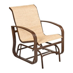 Woodard - Woodard Cayman Isle Padded Sling Glider Lounge Chair - The name Woodard Furniture has been synonymous with fine outdoor and patio furniture since the 1930s continuing the company�s furniture craftsmanship dating back over 140 years. Woodard began producing hand-made wrought iron furniture which led the company into cast and tubular aluminum furniture production over the years.� Most recently Woodard patio furniture launched its entry into the all-weather wicker furniture market with All Seasons which is expertly crafted and woven using synthetic wicker supported by an aluminum frame.� The company is widely known for durable beautiful designs that provide attractive and comfortable outdoor living environments.� Its hand-crafted technique used to create the intricate design patterns on its wrought iron furniture have been handed down from generation to generation -- a hallmark of quality unmatched in the furniture industry today. With deep seating slings and metal seating options in a variety of styles Woodard Furniture offers the designs you want with the quality you expect.  Woodard aluminum furniture is distinguished by the purest aluminum used in the manufacturing process resulting in an extremely strong durable product which still can be formed into flowing shapes and forms.� The company prides itself on the fusion of durability and beauty in its aluminum furniture offerings. Finishes on Woodard outdoor furniture items are attuned to traditional and modern design sensibilities. Nineteen standard frame finishes and nineteen premium finishes combined with more than 150 fabric options give consumers countless options to design their own dream outdoor space. Woodard is also the exclusive manufacturer of outdoor furnishings designed by Joe Ruggiero home decor TV personality.� The Ruggiero line includes wrought iron aluminum and all weather wicker designs possessing a modern aesthetic and fashion-forward styling inspired by traditional Woodard patio furniture