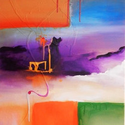 Great Minds Create - Sky - Original Paintings are created by Muna Saleh from start to end and will arrive fully finished and ready to hang or un-stretched and rolled in a tube for collectors who like to save on shipping and have their art stretched or framed locally.