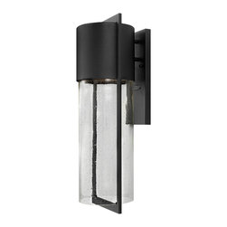 Hinkley Lighting - Dwell Large Outdoor Wall Lantern - This contemporary, stylish outdoor light will welcome your guests as they approach your door. Beautiful seedy glass gives an illusion of raindrops falling from the concealed light source.