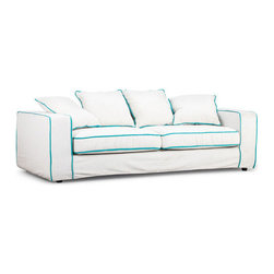 Linen Body Aqua Piping Vasteras Sofa - This linen body aqua piping sofa by Zuo Modern has an wood frame finish and is from their Vasteras collection. It's the perfect sofa to compliment any living room!