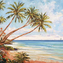 Murals Your Way - Seaside Vista Wall Art - Bring paradise into your home with this wall mural by artist John Zaccheo. Palm trees grow diagonally from the shore to reach out over the ocean
