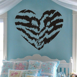 ColorfulHall Co., LTD - Wall Stickers For Bedrooms Self-Adhesive Wild Tiger Print Love Heart - Wall Stickers for Bedrooms Self-adhesive Wild Tiger Print Love Heart