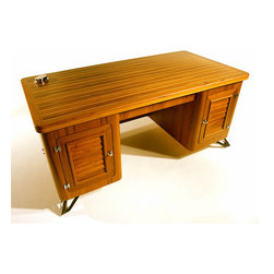 FROGGENHEIM Nautical - This piece is constructed of Teak with inlaid Holly on the desktop and is outfitted with nautical hardware. A day spent on your sport fishing boat without leaving the office. The desk can be personalized per client as well as additional pieces ordered in the Froggenheim Nautical line.
