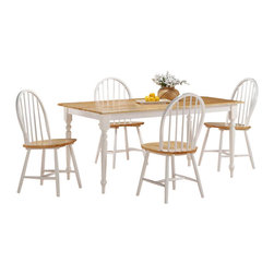 Boraam - Boraam Farmhouse 5 Piece Dining Set in White and Natural - Boraam - Dining Sets - 80369 - Boraam's high quality products are well styled and priced right. Benefitting from years of experience in the industry Boraam knows what you look for in quality furniture and takes pride in getting orders out as diligently as possible. Feel confident that Boraam will take your living space to another level.