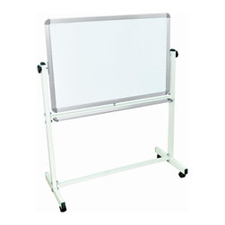Luxor Furniture - Double Sided Aluminum Magnetic Whiteboard - Includes four casters for easy mobility. Boards lock into place when in position. Silver frame around chalkboard. 23 in. D frame base. Board: 36 in. W x 24 in. H. Overall: 39 in. L x 20.5 in. W x 53.5 in. H. Warranty. Instructions Manual