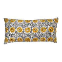 Yellow and Gray Floral Suzani Decorative Pillow Cover - One designer decorative pillow cover. Yellow and gray medallion linen block print. Made with the same pattern on both the front and back sides and finished with a concealed zipper closure. Pillow insert is not included. Available in a 18x18 or 12x24 size.
