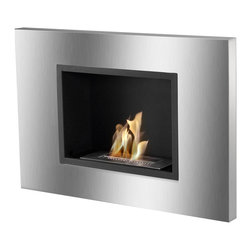 IGNIS - Ignis Bio Ethanol Fireplace Quadra - Make the most use of the space you have with this Quadra Recessed Ventless Ethanol Fireplace that only protrudes 4.5 inches from your wall. This ethanol fireplace can be hung easily on any wall where you want to add a stylish look. It has a stainless steel frame with black powder-coated accents, and it is equipped with a 1.5-liter burner that throws out 6,000 BTUs of efficient, clean-burning heat without the mess and the fuss of a wood-burning fireplace. This unit installs easily without a chimney, and you don't need gas or electric lines to install it. It comes with a damper and hardware needed for installation.