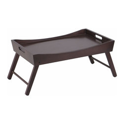 Winsome - Benito Bed Tray with Curved Top - Serve your breakfast on this great bed tray finished in espresso. Folding leg is great for storage. Folding size 22 in. W x 14.9 in. D x 2.9 in. H