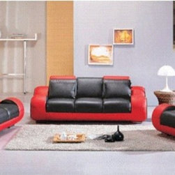 """Hokku Designs - Hematite 3 Piece Leather Sofa Set in Black / Red - Ultra modern style and luxurious leather upholstery highlight this 3-piece sofa set. This furniture set features drink holders and headrests. Features: -Set includes sofa, loveseat and chair. -Hematite collection. -Upholstery: Leather. -Color: Black / Red. -Materials: Hardwood, high-density foam, rubber webbing support system. -Features five incliners, five headrests, stuffed armrests, and drink holders. -Allow guests to lean back and enjoy the experience with comfort. -Thoroughly modern in its rounded edges and complete lack of sharp corners and semi-futuristic feel. -Sleek, masculine and perfect for living rooms, lounges and offices. -Leather with leather match on back and sides. -Chrome metallic finish on the legs accents these wonderful pieces. -Sofa dimensions: 31"""" H x 40"""" D x 82"""" L -Loveseat dimensions: 31"""" H x 35"""" D x 64"""" L. -Chair dimensions: 31"""" H x 40"""" D x 44"""" L."""
